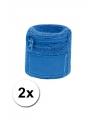 Blauwe zweetband met ritsje 2 stuks