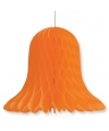 Decoratie kerst klokken oranje 20 cm