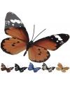 Decoratie vlinder oranje zwart metaal 42 x 30 cm