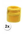 Gele zweetband met ritsje 2 stuks