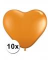 Hartjes ballonnen oranje 10 stuks