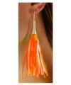 Kwastjes oorbellen neon oranje