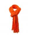 Lange gebreide sjaal met franjes oranje