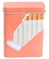 Metalen sigarettenblikje zalm oranje