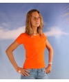 Oranje dames t shirt ronde hals