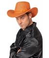 Oranje glitter cowboyhoed met pailletten