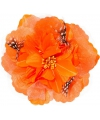 Oranje hawaii bloem met veertjes