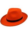 Oranje hoed met zwarte bies