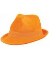 Oranje suede hoed
