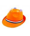 Oranje trilby hoedje met licht