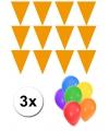 Pakket 3x vlaggenlijn xl oranje incl gratis ballonnen