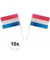 Plastic zwaaivlaggetjes holland 10 stuks
