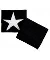 Pols zweetbandje zwart met witte ster