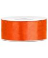 Satijn sierlint oranje 25 mm