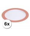 Voordelige platte plastic borden oranje 6 stuks