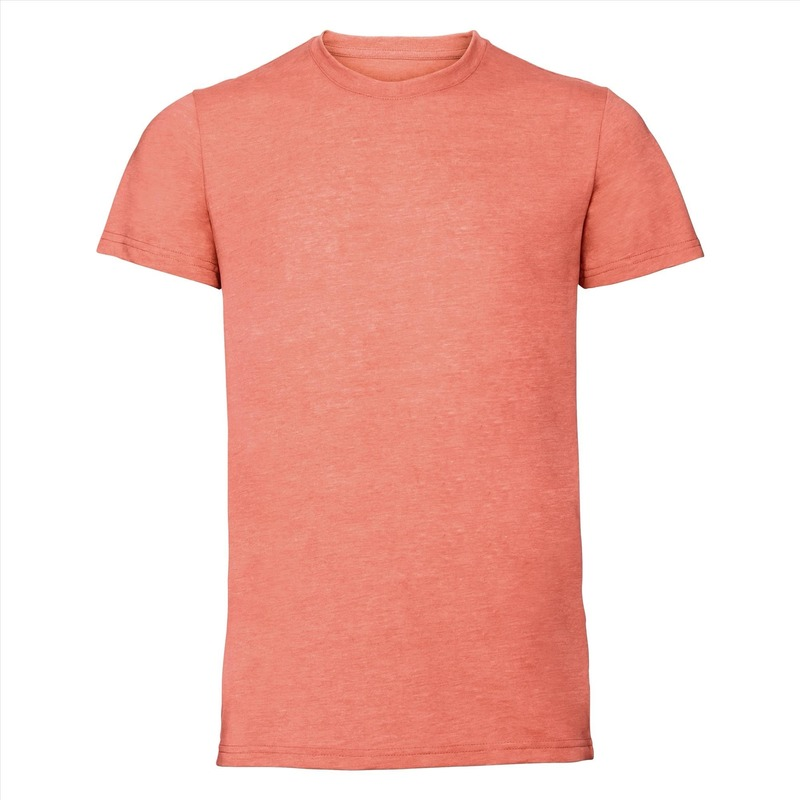 Basic ronde hals t shirt vintage washed koraal oranje voor heren