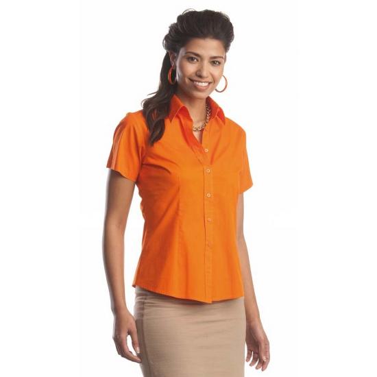 2447d0005e2 Nu zeer voordelig Oranje gekleurde dames overhemd met korte mouwen ...