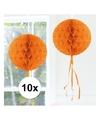 10x decoratie bol oranje 30 cm