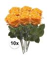 10x geel oranje rozen simone kunstbloemen 45 cm