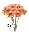 10x perzik oranje gerbera kunstbloemen 47 cm