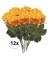 12x geel oranje rozen simone kunstbloemen 45 cm