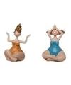 2x dikke yoga dames beeldjes 10 cm in oranje blauwe badkleding
