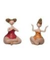 2x dikke yoga dames beeldjes 10 cm in rode oranje badkleding