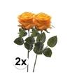 2x geel oranje rozen simone kunstbloemen 45 cm