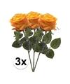 3x geel oranje rozen simone kunstbloemen 45 cm