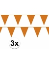3x oranje vlaggenlijn slinger 10 meter