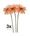 3x perzik oranje gerbera kunstbloemen 47 cm