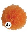 4 oranje decoratie pompoms 35 cm