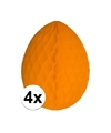 4x decoratie paasei oranje 20 cm