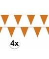4x oranje vlaggenlijn slinger 10 meter