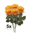 5x geel oranje rozen simone kunstbloemen 45 cm