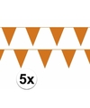 5x oranje vlaggenlijn slinger 10 meter