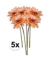 5x perzik oranje gerbera kunstbloemen 47 cm
