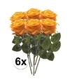 6x geel oranje rozen simone kunstbloemen 45 cm