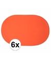 6x ovale placemats oranje 43 x 28 cm