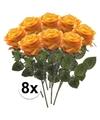 8x geel oranje rozen simone kunstbloemen 45 cm