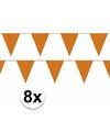 8x oranje vlaggenlijn slinger 10 meter