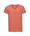 Basic v hals t shirt vintage washed koraal oranje voor heren