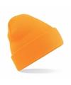 Basic winter muts fluor oranje