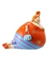 Beeld liggende dikke dame oranje blauw 10 cm