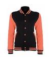College jack zwart fluor oranje voor dames