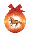 Dieren kerstbal paard oranje 8 cm