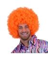 Fel oranje afro pruik