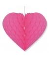 Bruiloft decoratie hart fuchsia roze 15 x 18 cm