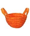 Gevlochten opbergmandje oranje 15 x 18 cm