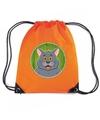 Grijze katten poes rugtas gymtas oranje voor kinderen